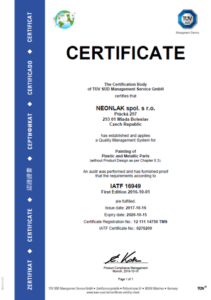 CERTIFIKACE ISO/TS 169-49